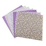 Fdit 7 Piezas Cuadrados de Tela algodón Acolchado 50 x 50 cm Tela de algodón Floral Impresa Diferentes diseños Costura Floral Precortado Hojas cuadradas de Tela para Acolchado de Costura DIY(2#)