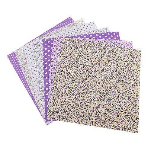 TOPINCN 7 Pezzi 50 x 50 cm Tessuti di Cotone per Fai da Te, Motivo Floreale a Pois Quadrati Pre-Tagliati Tessuto di Cotone trapunte Patchwork Purple