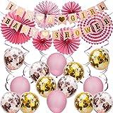 SAVITA Rosa Babyshower Deko für Mädchen Kit - IT'S A Girl Baby Shower Girlande Bunting Banner Papier Fans Luftballons Rosa Hängenden Wirbel Dekor für Baby Shower Party Supplies