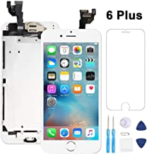 Full Assembly for iPhone 6 Plus Screen Replacement LCD Touch Digitizer Display with Front Camera,Ear Speaker,Facing Proximity Sensor,Home Button,Repair Tools and Free Screen Protector White
