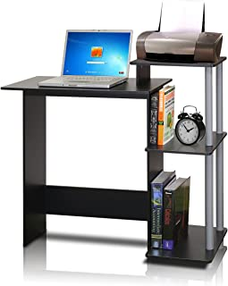 FURINNO 11192BK/GY Efficient Home Laptop Notebook Computer Desk, Square Side Shelves, Black/Grey