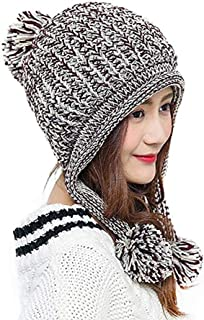 Bhwin Women Winter Soft Knitted Beanie Hat Ski Ear Flaps Caps for Girls Warm Hats
