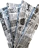 Tissue Paper for Gift Wrapping with Design (White Newspaper) Black and White, 24 Large Sheets (20x30)