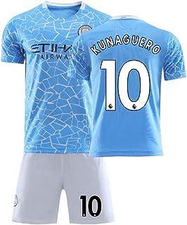 Conjunto De Camiseta De Fútbol para Fanáticos de Manchester City # 10 KUN de 2020 para Hombres,Adulto Sergio Agüero Partidario Fútbol Ropa Deportiva Ropa de Entrenamiento