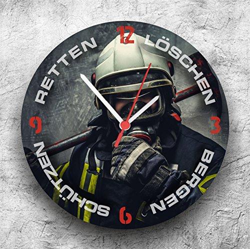 Roter Hahn 112 Hochwertige Feuerwehr Wanduhr Uhr Retten Löschen Bergen Schützen/25cm/Geräucharm