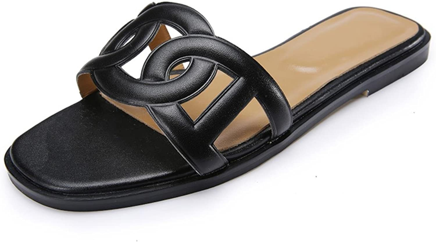Women Slippers Summer Casual Genuine Leather shoes Cut Out Retro Women Flats Plus Size
