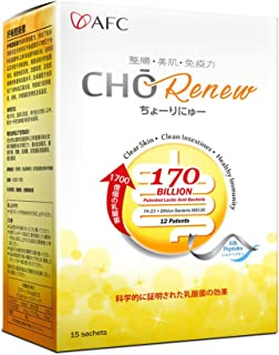 AFC Japan Cho Renew -170 Billions Patented Probiotics, 3X More Effective, with Silk Peptide & Fiber, for Clearer Skin, Stomach Acid Resistant, No Need for Refrigeration, 15 sachets