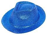 Alsino Glitzer Disco Trilby Melonen Hut Partyhut Fedora Trilbyhut Glitzerhut Melone, wählen:P-06 Trilby Gitzer blau