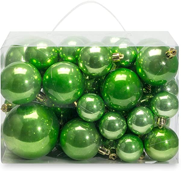 AMS Christmas Ball Plating Ornaments Tree Collection For Holiday Parties Decoration 40ct Pearl Green