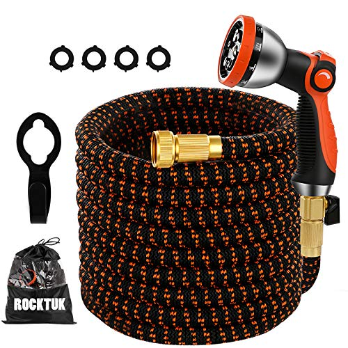 Rocktuk 50FT Expandable Garden hose High toughness water hose, 10-Function USA standard specification hose.Expandable water hose with Multifunctional Nozzle and Surface elastic fiber cloth.
