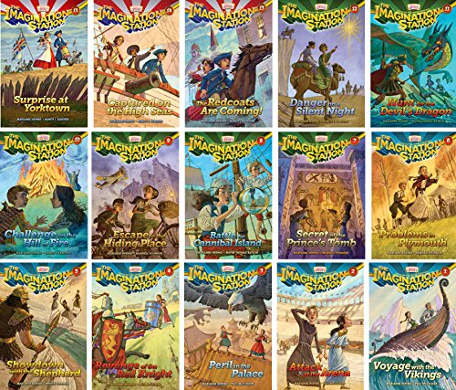 Imagination Station Series - Adventures in Odyssey - Set of 15 - Volumes #1-15 Including Surprise at Yorktown, Captured on the High Seas, the Redcoats Are Coming, Danger on a Silent Night,and more