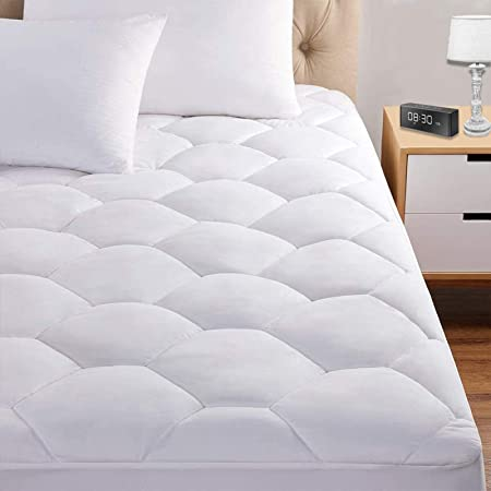 """Queen Mattress Pad, 8-21"""" Deep Pocket Protector Ultra Soft Quilted Fitted Topper Cover Fit for Dorm Home Hotel -White"""