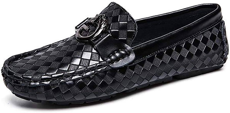 YUAN Lässige flache Müßiggänger, bequeme Erbsenschuhe für Herren Atmungsaktive Müßiggänger und Slip-One Wild Driving Schuh Rutschfestes Kleid,schwarz,41  | Einzigartig