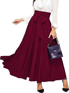 SweatyRocks Women's Elegant High Waist Knot Front Belted A-Line Midi Skirts