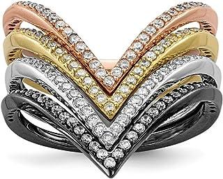 Plata de Ley rodio y black-plate Juego de anillos de oro y Rose-tone, Circonita, 4opciones de tamaño anillo de–gama: L a P