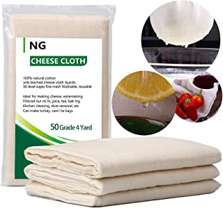 NUOBUNG - Cheese Cloth Unbleached Fabric Cotton, Reusable Ultra Fine Organic Cheesecloth, for Cooking Food, Nut Milk Bag, Cheesemaking, Kitchen Strainer (37 Square Feet/Grade 50)