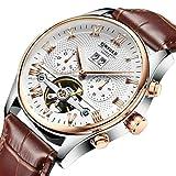 Hellery KINYUED Hombres Mecánico Automático Reloj De Pulsera Esqueleto De Cuero - marrón