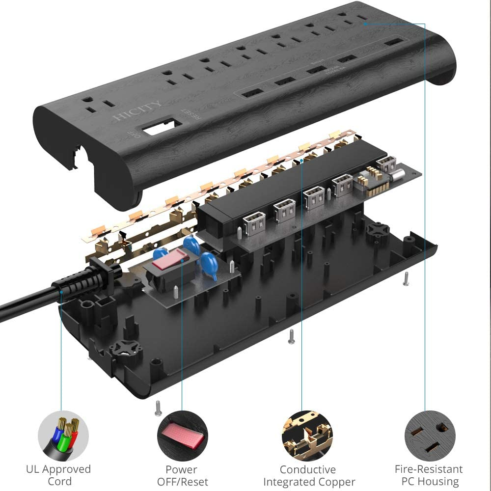 Power Strip Surge Protector with 5 USB Ports (30W/6A) and 7 Outlets (1625W/13A), 2100 Joules, 6ft Heavy Duty Extension Cord, HICITY Wall Mountable Multiplug for Home & Office - Black