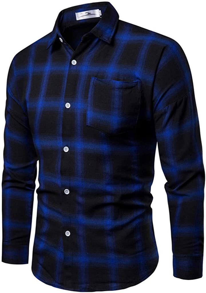 XXBR Shirts for Mens, Long Sleeve Business Leisure Formal Casual Shirt Polka Dot Plaid Checked Slim Fit Work Office Tops