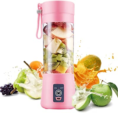 Electric USB Juicer Blender Portable Juicer Cup 380ml Water Bottle Juicer Machine with 6 Blades, 2000mAh Rechargable Battery (Pink)