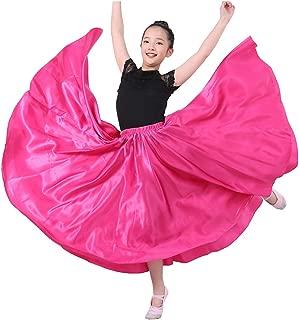 Long Length Dance Performance Practise Satin Skirt for Teen Little/Big Girl Halloween Costume