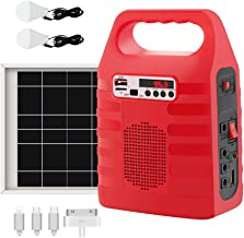 Portable Solar Generator,Portable Solar Generator with Solar Panel,Solar Power Generator Kit,Camping Fishing Emergency Electric Generator,Solar Powered Charger,Lithium Battery Backup Power (Red)
