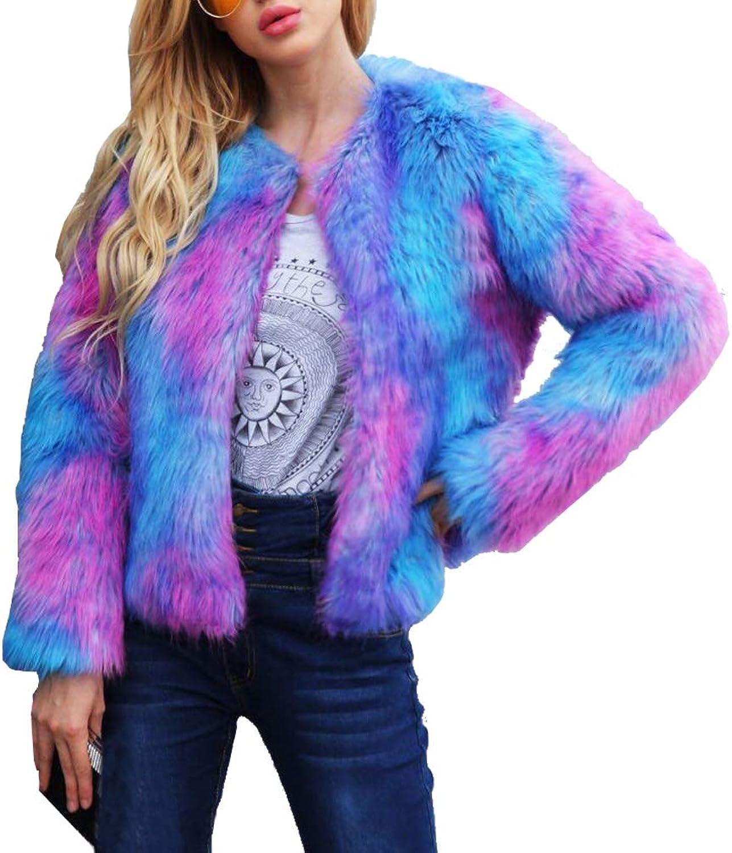 LIYT Womens Winter Warm colorful Faux Fur Coat Cardigan Outerwear Christmas Coat