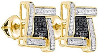 FB Jewels 925 الفضة الاسترليني للرجال جولة أسود اللون معززة الماس العنقودية أقراط .03 Cttw (الحجر الأساسي: I2-I3 وضوح؛ الل...