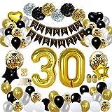 MMTX 30 Décorations de fête en Noir Or, Bannières de Joyeux Anniversaire Ballons Ballons du 30 ème Anniversaire, Pom Poms en Papier, Ballons en Feuille d'or pour Hommes et Femmes Adult Decor (30)