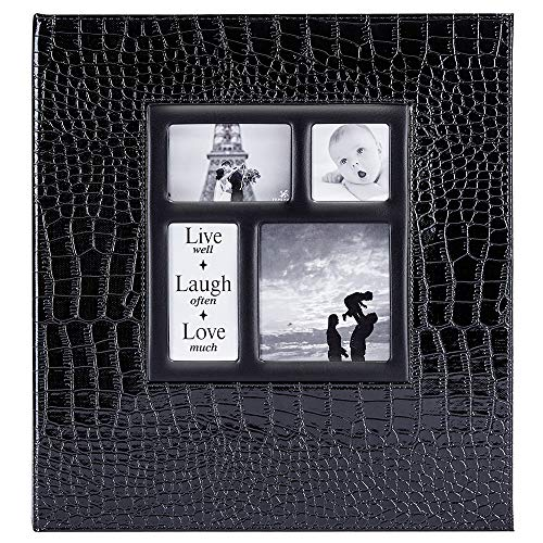 Ywlake Photo Album 4x6 1000 Pockets Photos Croco, Extra Large Capacity Family Wedding Picture Albums Holds 1000 Horizontal and Vertical Photos Black