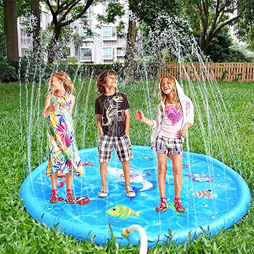 YAVOCOS Splash Water Play Mat, 60In-Diameter Sprinkle and Splash Play Mat Toy for Outdoor Swimming Beach Lawn Inflatable Sprinkler Pad Children Kids