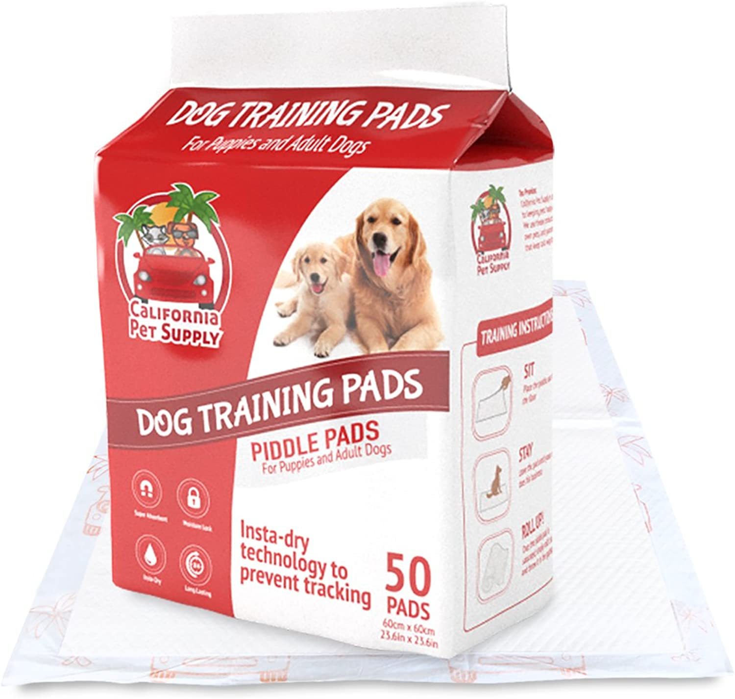 Dog Training Pads MaximumAbsorption Puppy Pads w InstaDry Technology offer No Tracking. Save Money & Frustration with LeakResistant Pads from California Pet Supply  23.6  x 23.6  (50Pack)