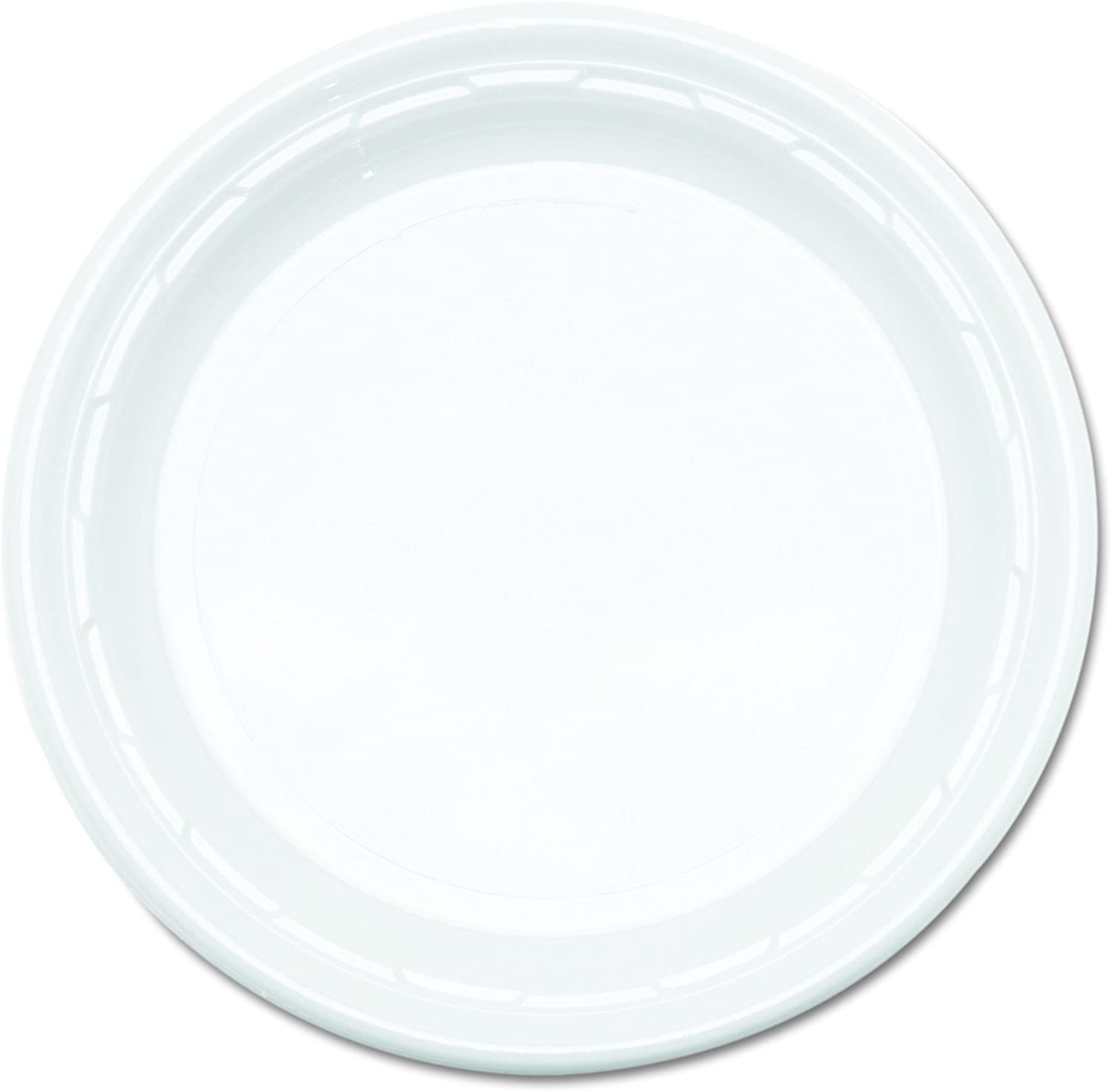 Dart 9PWF 9 in White Plastic Plate (Case of 500)