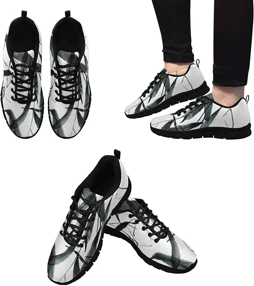 InterestPrint Chinese Bamboo Leaves Ink Painting Women's Tennis Running Shoes Lightweight Sneakers