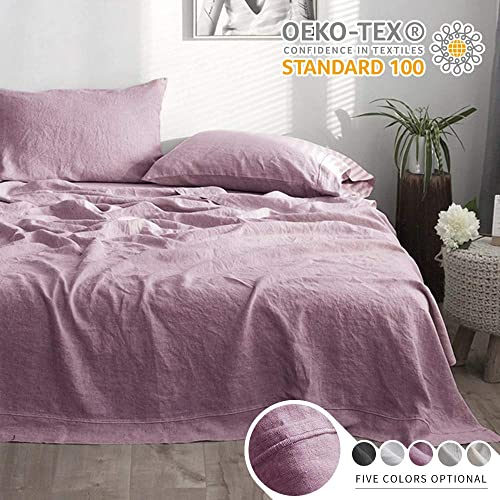 Simple&Opulence 100% Linen Sheet Set with Embroidery Stone Washed - Queen Size - 4 Pieces (1 Flat Sheet & 1 Fitted Sheet & 2 Pillowcases) Natural Flax Soft Bedding Breathable Farmhouse - Purple
