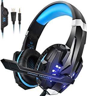 Kotion Each G9000 Over Ear Gaming Headphones with Mic and LED (Black/Blue) Compatible with PC, iPad, iPhone, Tablets, Mobi...