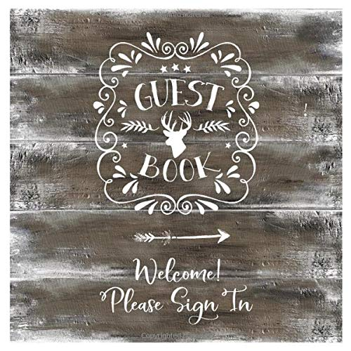 Guest Book: Rustic Wood Guestbook For Vacation House, Guesthouse Lodge Visitors, Rental Cabin Home...
