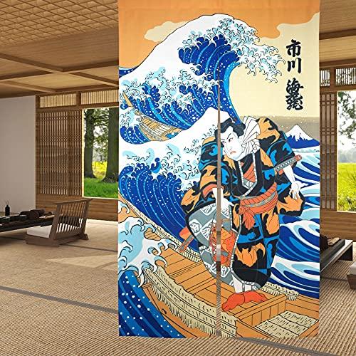 LIGICKY Noren - Cortina de Puerta Estilo japonés Ukiyoe Hokusai The Great Wave Off Kanagawa para Puerta, Divisor, 85 x 150 cm