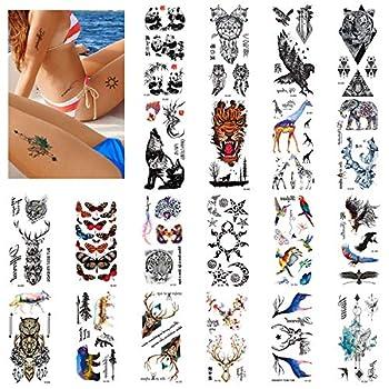 Realistic Temporary Tattoos 130+,Fashion Animal Style Fake Tattoos Waterproof and Long lasting