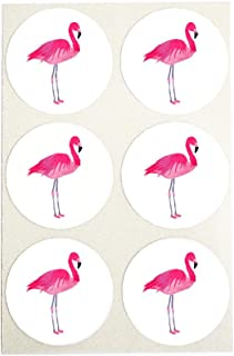 Watercolor Pink Flamingo Stickers, Round Envelope Seals, Party Favor Labels, Cupcake Toppers for Summer Themed Parties, by Once Upon Supplies, 1.5 Inches, 60 Stickers