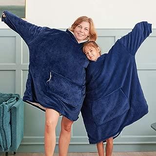 Bonzy Home Blanket Sweatshirt with Sherpa Lining,Lightweight Wearable Throw,Oversized Fleece Pullover with Pocket Hoodie Blanket for Teens, Men, Women(Navy Blue)