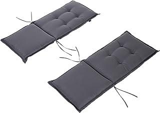 Outsunny Cojín de 2 Piezas para Tumbona de Exterior Colchoneta para Sillas de Jardín Acolchado Cómoda con Cuerda de Fijación Lavable a Mano Poliéster Esponja 120x50x6 cm Gris