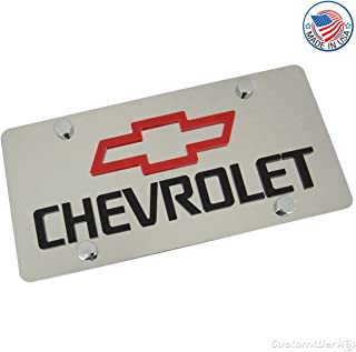 Chevy Red Bowtie Logo & Name On Polished License Plate