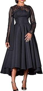 VERWIN Long Sleeve Hollow Mid-Calf Round Neck Plain Women's Dress Maxi Dress Party Dress