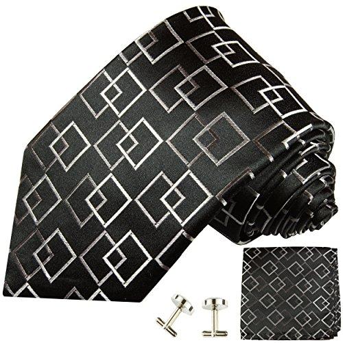 Cravate noir á carreaux ensemble de cravate 3 Pièces (100% Soie Cravate + Mouchoir + Boutons de manchette)