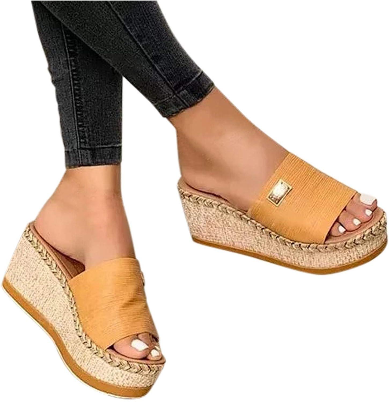 Cyrwrbire Womens Sandals Espadrille Open Toe Platform Sandals Casual Summer Beach Slippers Wedge Sandals