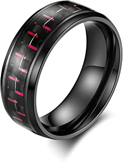 Aooaz Stainless Steel Ring Biker Black Ring Inlay Carbon Fiber 8Mmthumb Ring Size 6-12