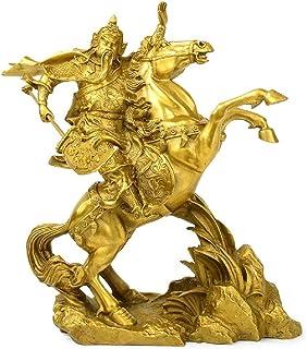 Xkun Feng Shui Weifang Statue, Guan Long Riding Horse Sculpture, Brass Handmade Smart Crafts (Medium)