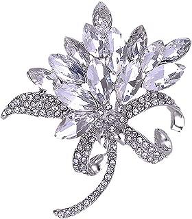 Women's Austrian Crystal Brooch Wedding Flower Leaf Bouquet Brooch