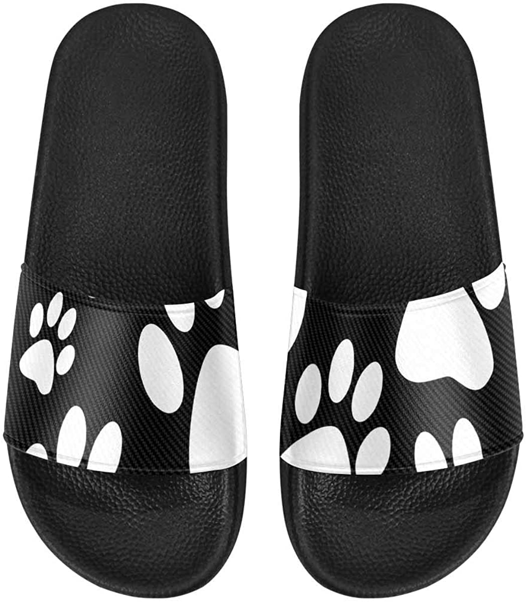 InterestPrint Outdoor Stylish Sandals Slides for Women Black and